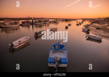 the landscape and coast at the town of Santa Luzia in the Algarve in the south of Portugal in Europe. - Stock Photo