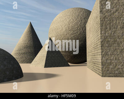An abstract background with primitive cone, pyramid, sphere and cube shapes made of stone bricks, 3d illustration. - Stock Photo