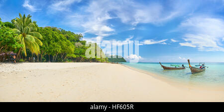 Panoramic landscape view of sandy Beach, Bu Bu Island, Krabi Province, Thailand - Stock Photo