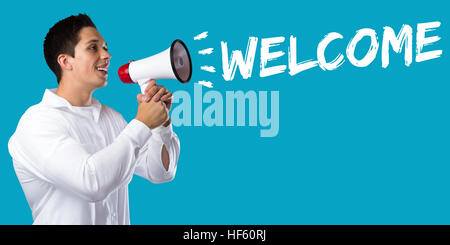 Welcome refugees refugee customer customers immigrants young man megaphone bullhorn - Stock Photo