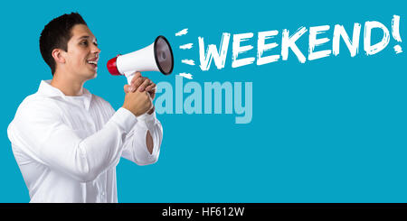 Weekend relax relaxed break business concept free time freetime leisure young man megaphone bullhorn - Stock Photo