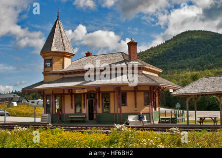 AMC, New Hampshire, the historic 19th c. Crawford Railway station still providing rail service to Crawford Notch, - Stock Photo