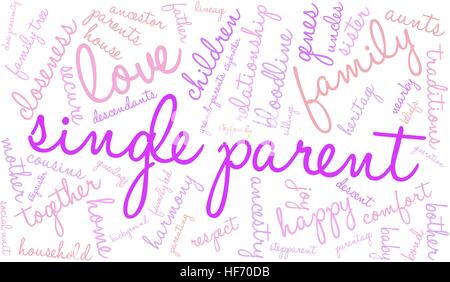 Single Parent word cloud on a white background. - Stock Photo