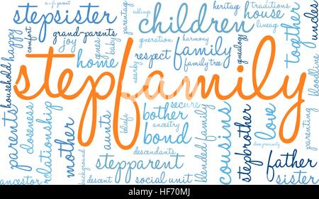 Stepfamily word coud on a white background. - Stock Photo