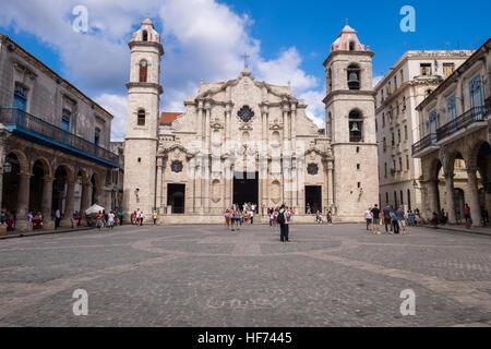 Catedral de San Cristobel de la Habana, Cathedral, plaza, La Havana, Cuba. - Stock Photo