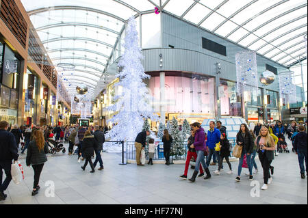 Christmas decorations at the Centre shopping mall, Livingston, West Lothian. - Stock Photo