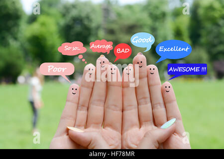 Customer satisfaction scale and testimonials concept with happy human fingers - Stock Photo