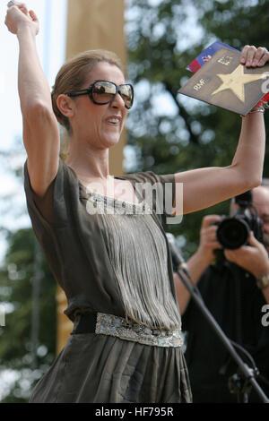 KRAKOW, POLAND - JUNE 28, 2008: Avenue of Stars Radio RMF FM, o/p Celine Dion - Stock Photo