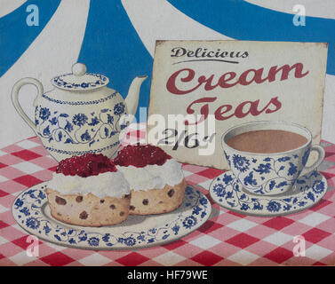 Vintage cream tea sign at Morelli's Cappuccino Cafe, Victoria Parade, Broadstairs, Isle of Thanet, Kent, England, - Stock Photo