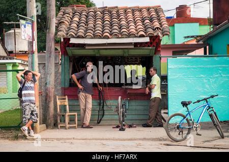 Puncture repair workshop, Vinales, Cuba - Stock Photo