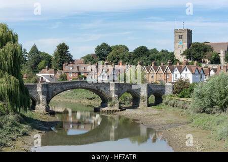 Village view across River Medway, Aylesford, Kent, England, United Kingdom - Stock Photo