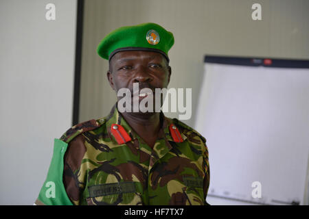 The AMISOM ChIef of Operations, Col. Othieno Mutacho, speaks during a training workshop on  crisis communication - Stock Photo