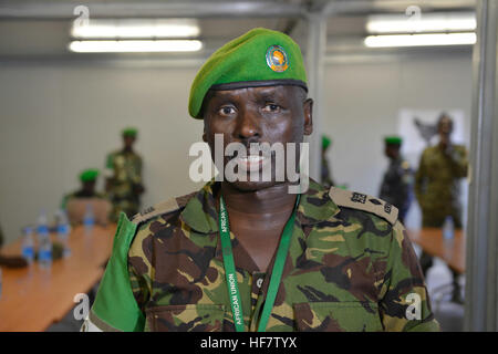 Lt. Col. Joe Kibet Murrey, the AMISOM Force Spokesperson speaks during a training workshop on crisis communication - Stock Photo