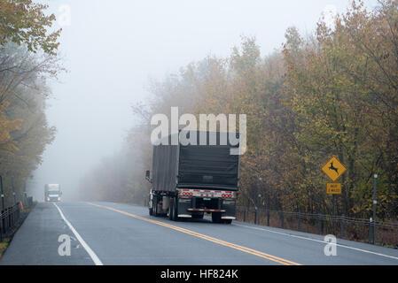 Deer crossing highway sign on Highway 4 in Washington County, New York. - Stock Photo
