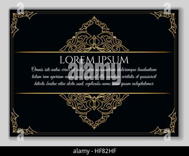 Vintage golden frame. Decorative vector frame with eastern elements and text sample over black background. - Stock Photo
