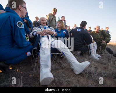 Expedition 48 NASA astronaut Jeff Williams rests in a chair  after he and Russian cosmonauts Oleg Skripochka and - Stock Photo