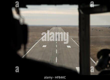 A Russian Search and Rescue helicopter is seen as it lands in Zhezkazgan, Kazakhstan to prepare for the Soyuz MS - Stock Photo