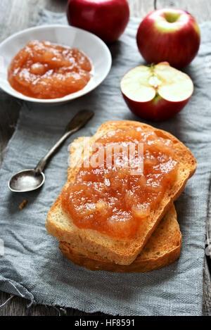Apple jam on toast bread, sweet sandwich - Stock Photo