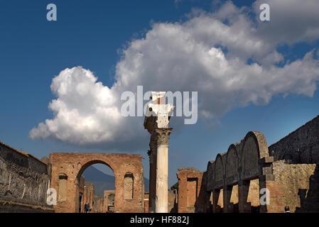 Scenic view of ruins Pompeii Italy - Stock Photo