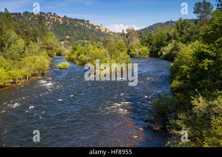 South Fork of the American River near Marshall Gold Discovery State Historic Park. A popular place to pan for gold. - Stock Photo