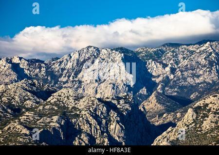 Rough stone desert Velebit mountain peak view, National park in Croatia - Stock Photo