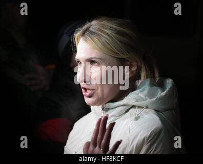 HORLIVKA, UKRAINE - DECEMBER 29, 2016: DPR commissioner for human rights Darya Morozova seen while the Ukrainian - Stock Photo