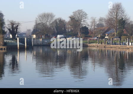 Lock on a river in winter - Stock Photo
