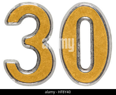 Metal numeral 30, thirty, isolated on white background - Stock Photo