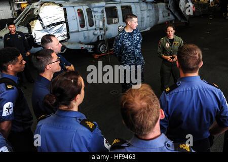 131116-N-SV688-044  ARABIAN SEA (Nov. 16, 2013) Lt. Cmdr. Pam Donovan, safety officer of the amphibious assault - Stock Photo