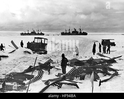 Bulldozer clears path during Operation Highjump c1947 - Stock Photo