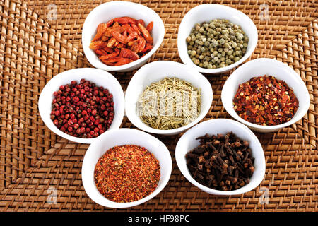 Small bowls of cloves, barbecue spice, red pepper, dried chilies, green pepper and rosemary - Stock Photo