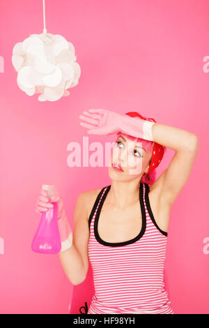 Spring-cleaning in pink - Stock Photo