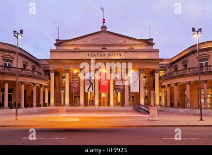 Solis Theatre at twilight, Montevideo, Uruguay - Stock Photo