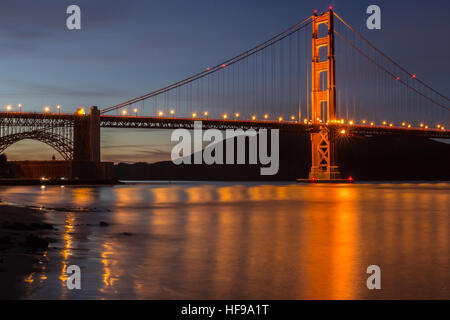 Golden Gate Bridge And Water Reflections. Fort Point, San Francisco, California, USA - Stock Photo