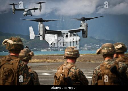 U.S. Marine soldiers prepare to board Bell Boeing MV-22 Osprey aircraft during a simulation of Operation Gothic - Stock Photo