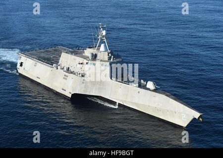The USN Independence-class littoral combat ship USS Independence steams underway off the coast of California December - Stock Photo