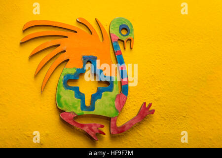 Colorful piece that reproduces ancient Inca ostrich design - Stock Photo