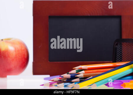 Childrens school and office supplies on the table, Selective focus and small depth of field - Stock Photo