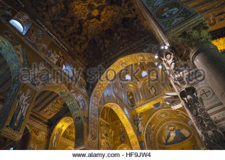 Capella Palatina, Palermo, Sicily, Italy, Europe, - Stock Photo