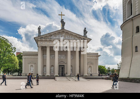 The Cathedral Square with the Vilnius Cathedral is located in the old town of Vilnius, Lithuania, Baltic States, - Stock Photo