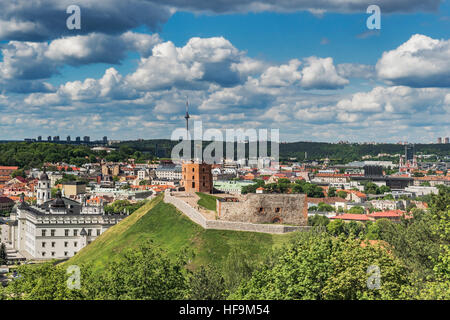 View over Vilnius to the Gediminas Tower, Vilnius, Lithuania, Baltic States, Europe - Stock Photo