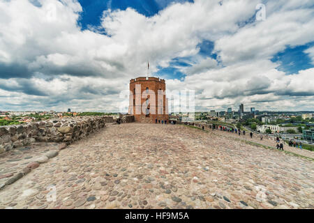 The Gediminas Tower is the landmark of Vilnius, Lithuania, Baltic States, Europe - Stock Photo