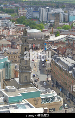 high angle view of leeds holy trinity church and the trinity centre and the corn exchange yorkshire united kingdom - Stock Photo