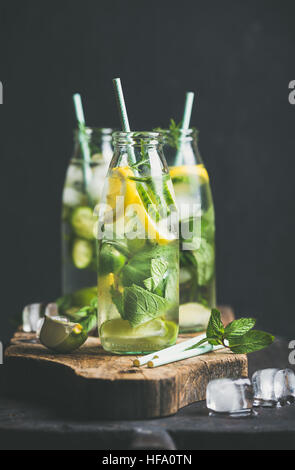 Citrus fruit and herbs infused sassi water in glass bottles - Stock Photo