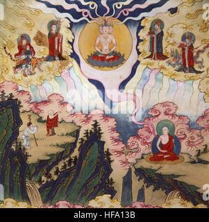 Buddhist tibetan vajrayana meditation painting 18th century buddha and mind yoga mindfulness Liberation - Stock Photo