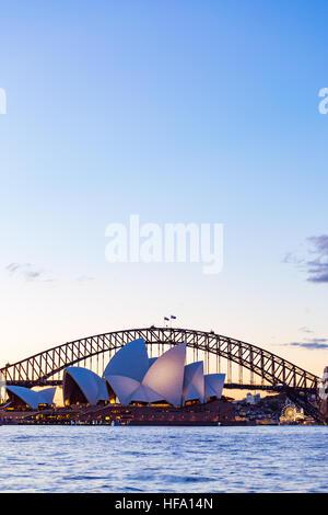 Sydney, city skyline at sunset, Australia - Stock Photo