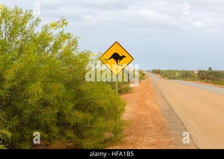 Kangaroo sign, unpaved road, Western Australia - Stock Photo