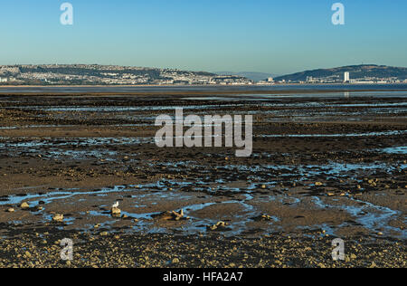 Swansea Bay looking across from Mumbles to the coastal city of Swansea in south Wales - Stock Photo