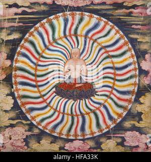 Buddhist tibetan vajrayana meditation painting 18th century buddha and mind yoga mindfulness - Stock Photo