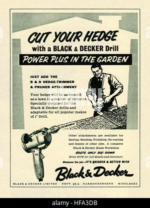An advert for a Black and Decker drill hedge trimming attachment. It appeared in a magazine published in the UK - Stock Photo